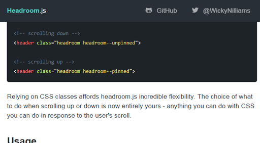 Headroom javascript library