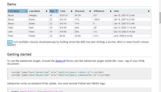 tablesorter javascript library