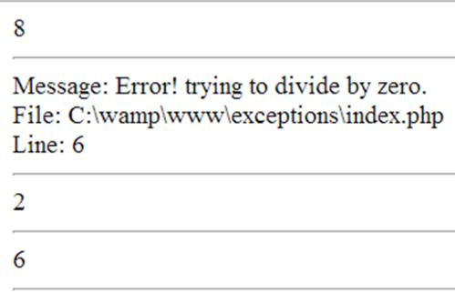 המתודות השונות שמספק exception של PHP