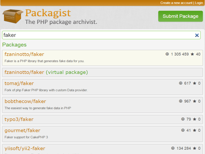 packagist main page