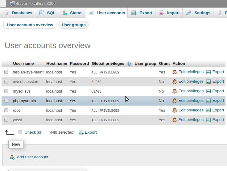 ניהול חשבונות משתמשים של mySQL